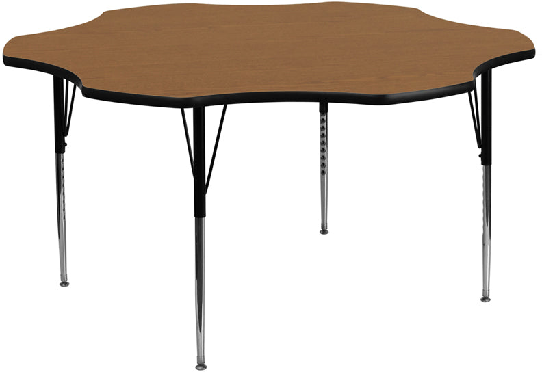 60'' Flower Oak Thermal Laminate Activity Table - Standard Height Adjustable Legs