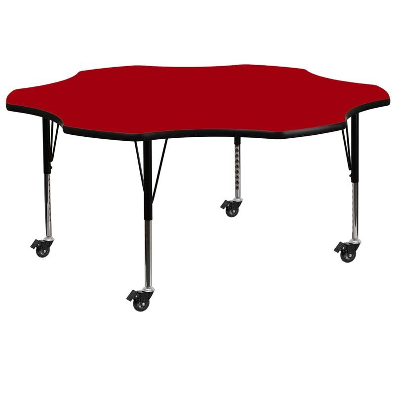 Mobile 60'' Flower Red Thermal Laminate Activity Table - Height Adjustable Short Legs - XU-A60-FLR-RED-T-P-CAS-GG