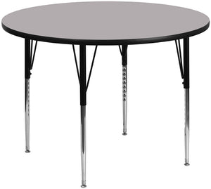 60'' Round Grey Thermal Laminate Activity Table - Standard Height Adjustable Legs - XU-A60-RND-GY-T-A-GG