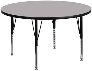 60'' Round Grey Thermal Laminate Activity Table - Height Adjustable Short Legs