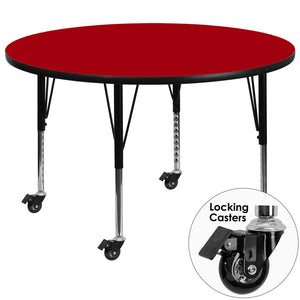 Mobile 60'' Round Red Thermal Laminate Activity Table - Height Adjustable Short Legs - XU-A60-RND-RED-T-P-CAS-GG