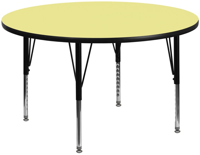 60'' Round Yellow Thermal Laminate Activity Table - Height Adjustable Short Legs - XU-A60-RND-YEL-T-P-GG