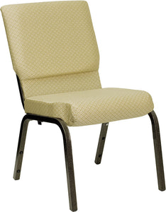 HERCULES Series 18.5''W Stacking Church Chair in Beige Patterned Fabric - Gold Vein Frame - XU-CH-60096-BGE-GG