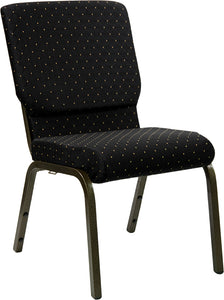 HERCULES Series 18.5''W Stacking Church Chair in Black Dot Patterned Fabric - Gold Vein Frame - XU-CH-60096-BK-GG