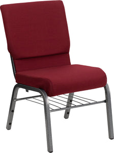 HERCULES Series 18.5''W Church Chair in Burgundy Fabric with Book Rack - Silver Vein Frame - XU-CH-60096-BY-SILV-BAS-GG