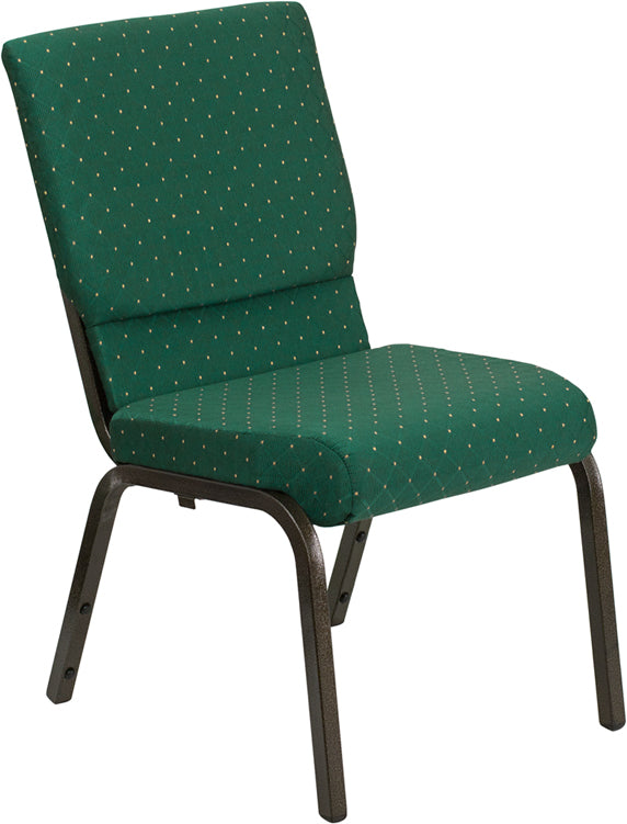 HERCULES Series 18.5''W Stacking Church Chair in Green Patterned Fabric - Gold Vein Frame - XU-CH-60096-GN-GG
