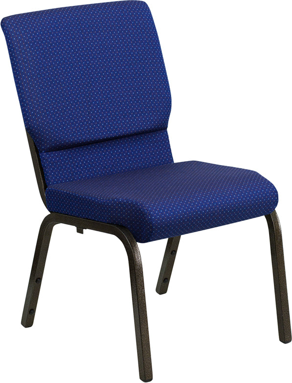 HERCULES Series 18.5''W Stacking Church Chair in Navy Blue Patterned Fabric - Gold Vein Frame - XU-CH-60096-NVY-DOT-GG