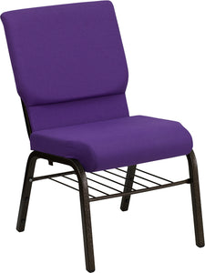 HERCULES Series 18.5''W Church Chair in Purple Fabric with Book Rack - Gold Vein Frame - XU-CH-60096-PU-BAS-GG