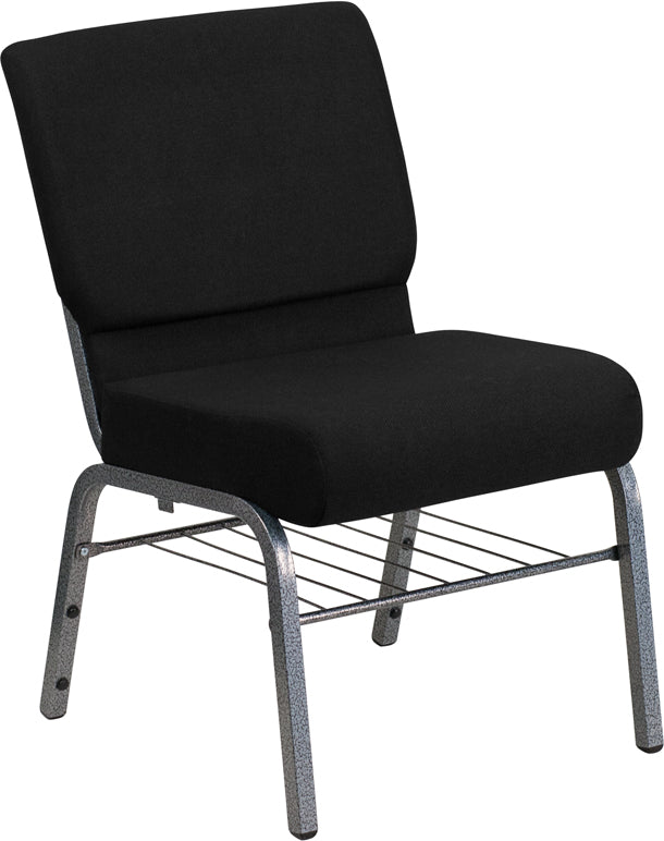 HERCULES Series 21''W Church Chair in Black Fabric with Book Rack - Silver Vein Frame - XU-CH0221-BK-SV-BAS-GG