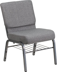HERCULES Series 21''W Church Chair in Gray Fabric with Book Rack - Silver Vein Frame - XU-CH0221-GY-SV-BAS-GG