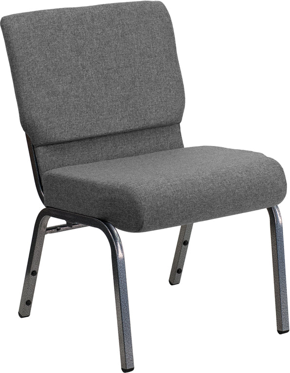 HERCULES Series 21''W Stacking Church Chair in Gray Fabric - Silver Vein Frame - XU-CH0221-GY-SV-GG