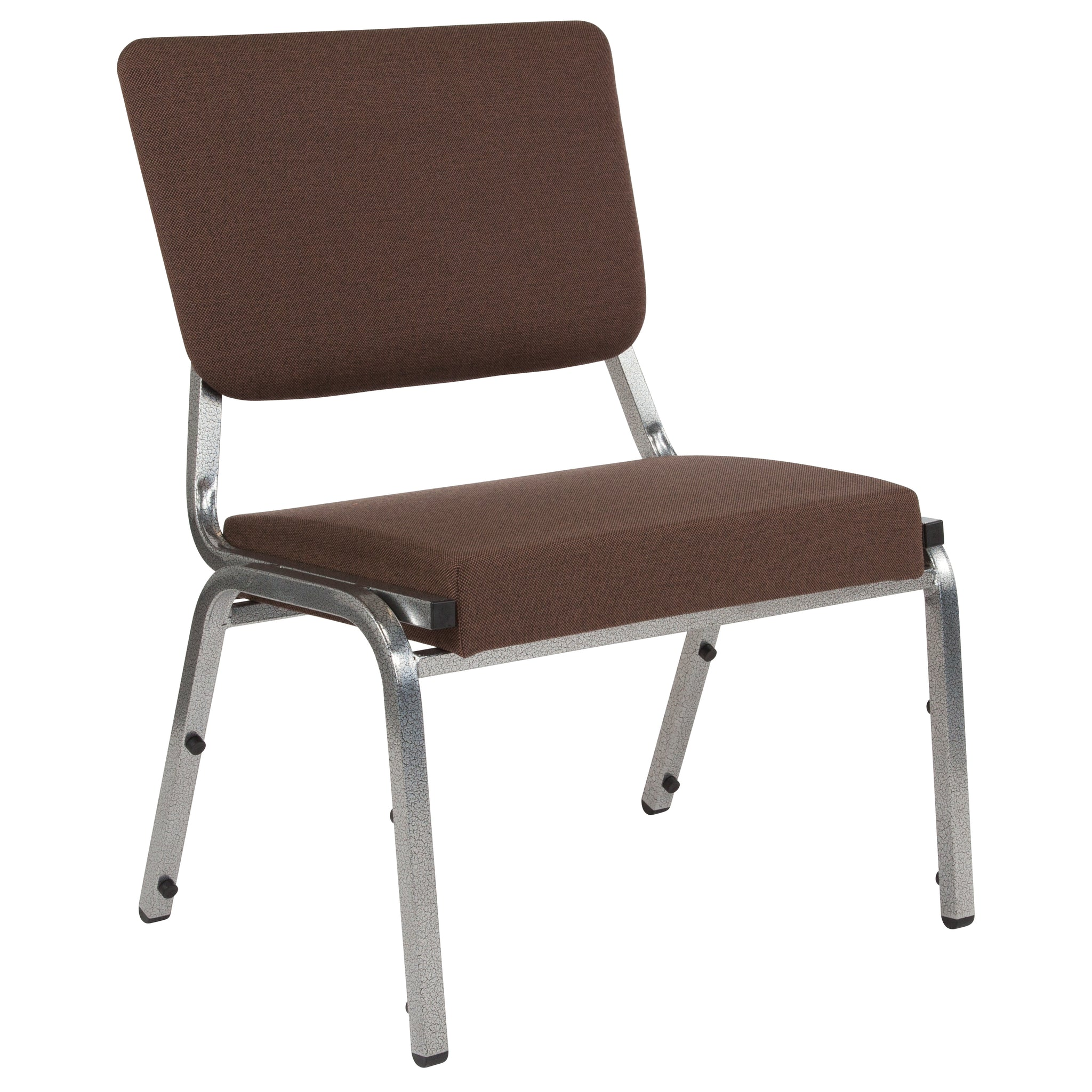 HERCULES Series 1500 lb. Rated Brown Antimicrobial Fabric Bariatric Chair with 3/4 Panel Back and Silver Vein Frame
