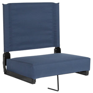 Grandstand Comfort Seats by Flash with Ultra-Padded Seat in Navy Blue