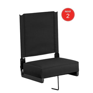 Flash Furniture Grandstand Comfort Seats by Flash with Ultra-Padded Seat in Black - 2 Pack