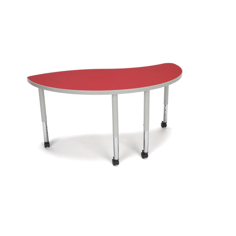 OFM Adapt Series Ying Student Table - 20-28 Height Adjustable Desk With Casters, Red