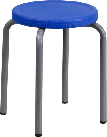Stackable Stool with Blue Seat and Silver Powder Coated Frame - YK01B-BL-GG