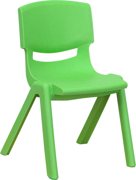 Green Plastic Stackable School Chair with 12'' Seat Height - YU-YCX-001-GREEN-GG