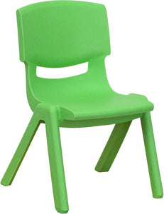Green Plastic Stackable School Chair with 10.5'' Seat Height
