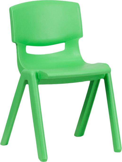 Green Plastic Stackable School Chair with 13.25'' Seat Height - YU-YCX-004-GREEN-GG