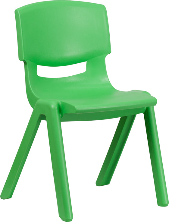 Green Plastic Stackable School Chair with 15.5'' Seat Height - YU-YCX-005-GREEN-GG