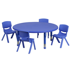 45'' Round Blue Plastic Height Adjustable Activity Table Set with 4 Chairs