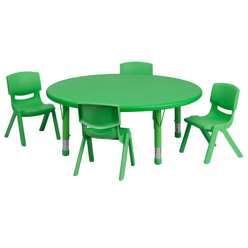 45'' Round Green Plastic Height Adjustable Activity Table Set with 4 Chairs