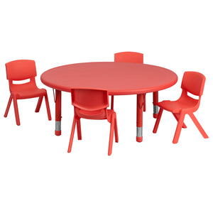 45'' Round Red Plastic Height Adjustable Activity Table Set with 4 Chairs - YU-YCX-0053-2-ROUND-TBL-RED-E-GG