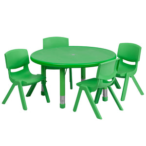 33'' Round Green Plastic Height Adjustable Activity Table Set with 4 Chairs
