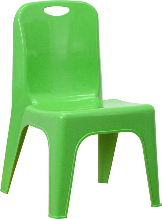 Green Plastic Stackable School Chair with Carrying Handle and 11'' Seat Height - YU-YCX-011-GREEN-GG