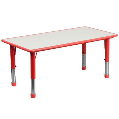 23.625''W x 47.25''L Rectangular Red Plastic Height Adjustable Activity Table with Grey Top - YU-YCY-060-RECT-TBL-RED-GG