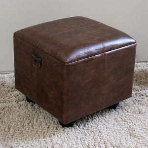Square Faux Leather Ottoman w/Lid -Saddle Brown