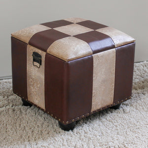 Square Faux Leather Ottoman w/Lid -Mixed Patch Work