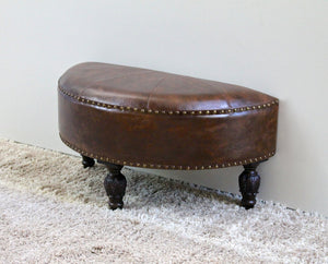 Faux Leather Half Moon Ottoman -Saddle Brown