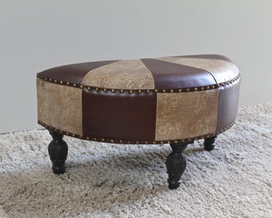 Faux Leather Half Moon Ottoman -Mixed Patch Work