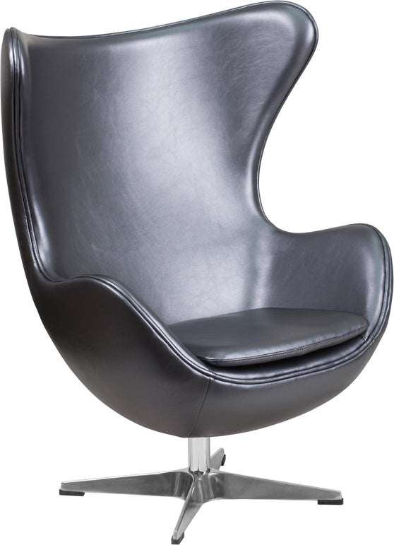 Gray Leather Egg Chair with Tilt-Lock Mechanism - ZB-23-GG