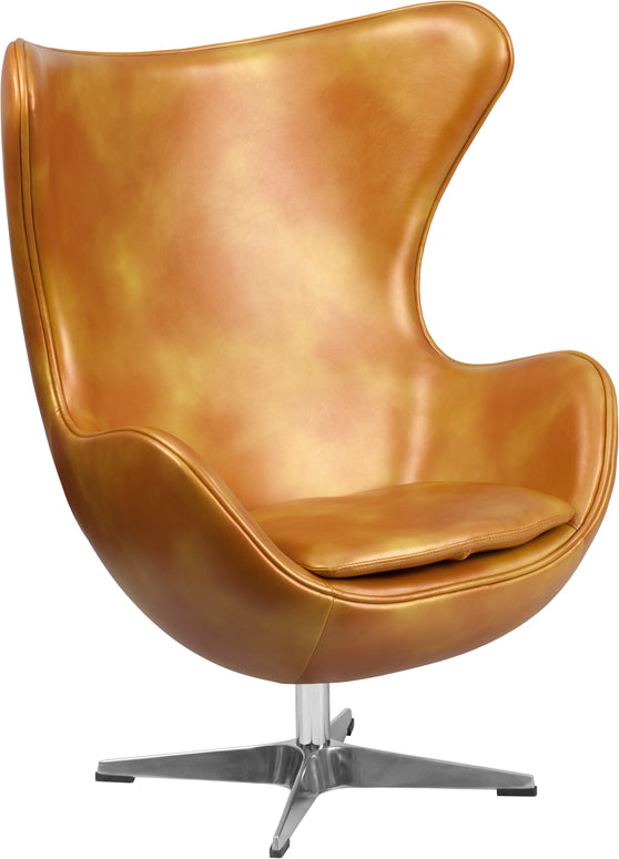 Gold Leather Egg Chair with Tilt-Lock Mechanism - ZB-24-GG