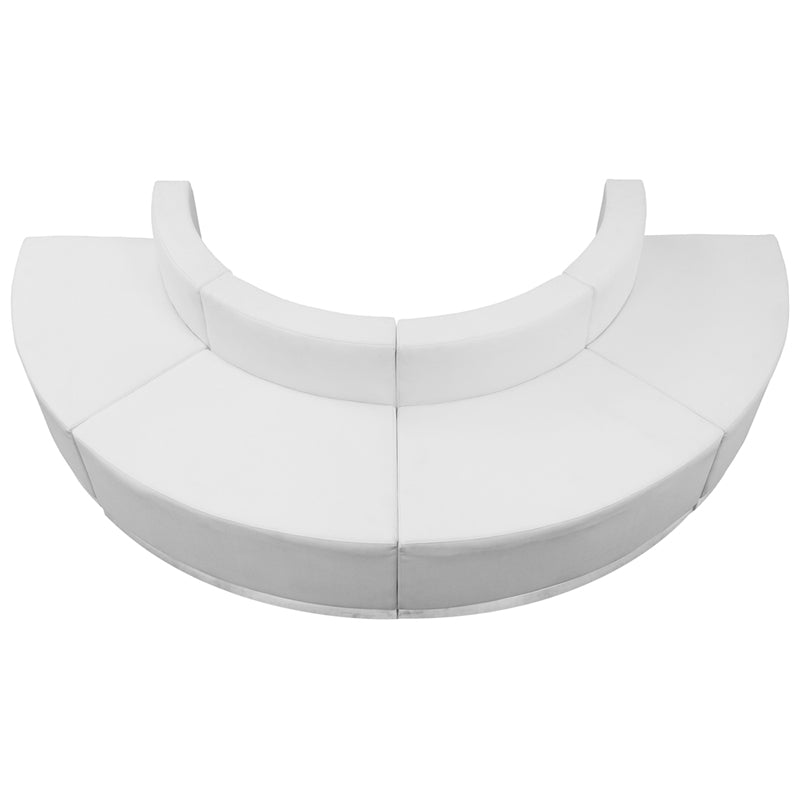 HERCULES Alon Series White Leather Reception Configuration, 4 Pieces - ZB-803-520-SET-WH-GG