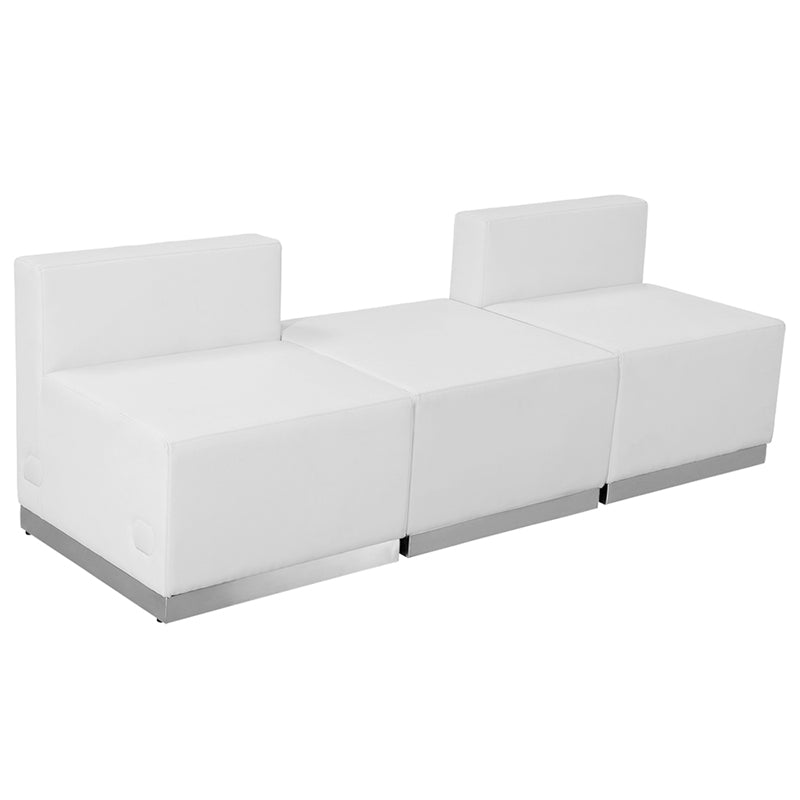 HERCULES Alon Series White Leather Reception Configuration, 3 Pieces - ZB-803-670-SET-WH-GG