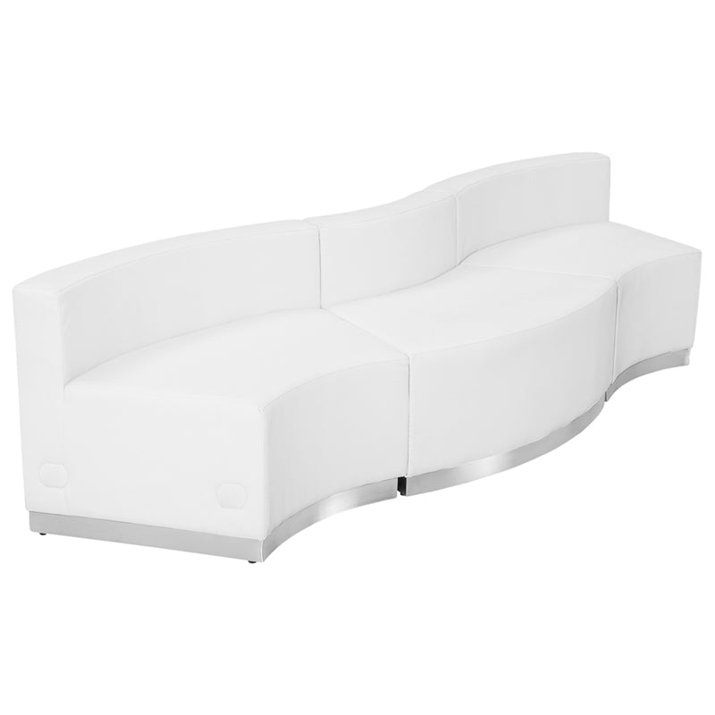 HERCULES Alon Series White Leather Reception Configuration, 3 Pieces - ZB-803-720-SET-WH-GG