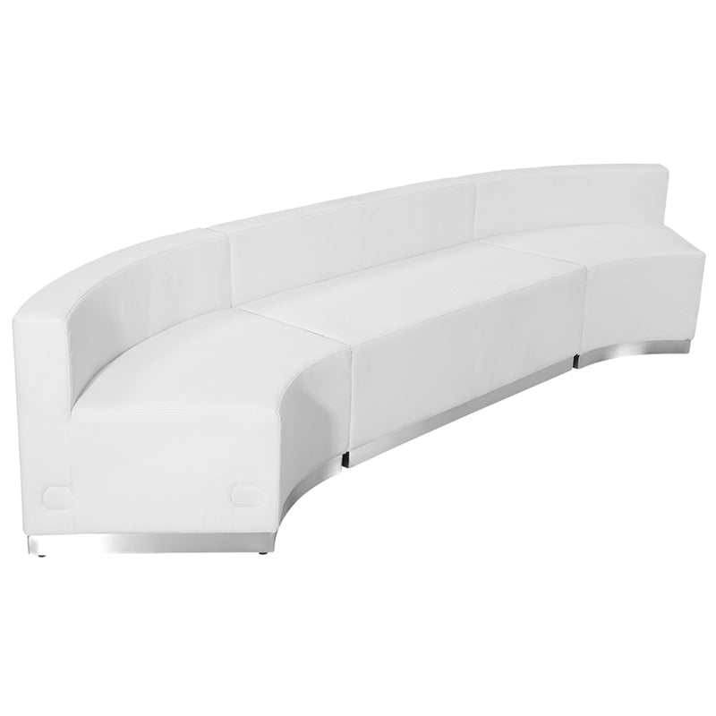 HERCULES Alon Series White Leather Reception Configuration, 3 Pieces - ZB-803-770-SET-WH-GG