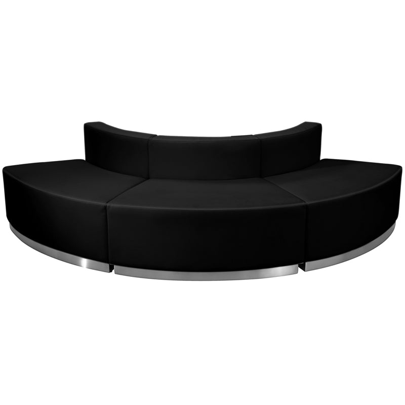 HERCULES Alon Series Black Leather Reception Configuration, 3 Pieces - ZB-803-800-SET-BK-GG