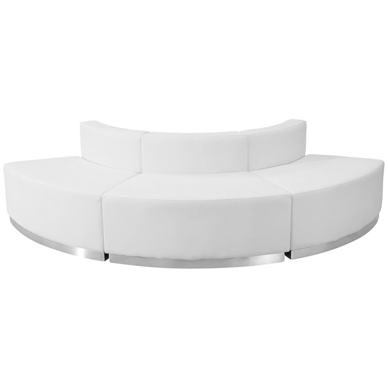 HERCULES Alon Series White Leather Reception Configuration, 3 Pieces - ZB-803-800-SET-WH-GG