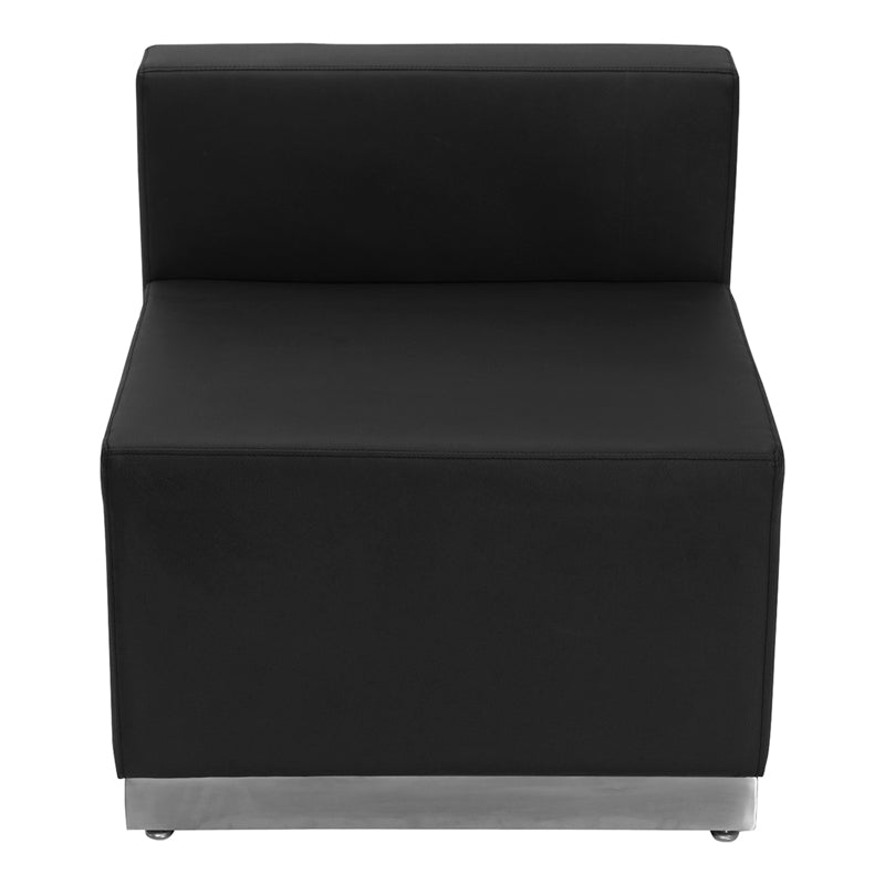 HERCULES Alon Series Black Leather Chair with Brushed Stainless Steel Base - ZB-803-CHAIR-BK-GG