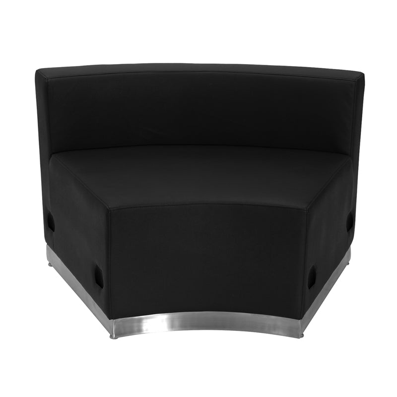 HERCULES Alon Series Black Leather Concave Chair with Brushed Stainless Steel Base - ZB-803-INSEAT-BK-GG