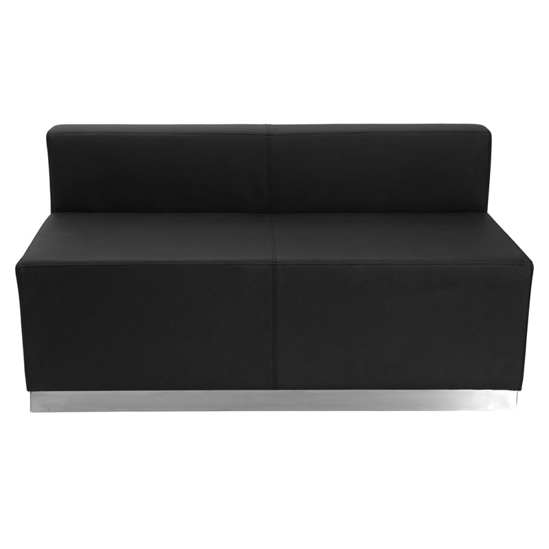 HERCULES Alon Series Black Leather Loveseat with Brushed Stainless Steel Base - ZB-803-LS-BK-GG