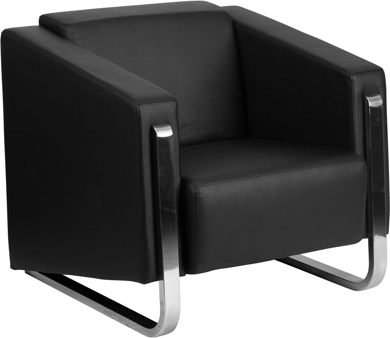 HERCULES Gallant Series Contemporary Black Leather Chair with Stainless Steel Frame - ZB-8803-1-CHAIR-BK-GG