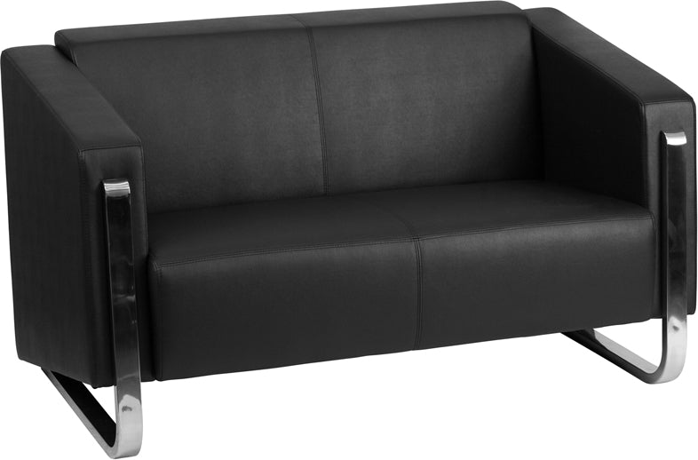 Gallant Series Contemporary Black Leather Loveseat with Stainless Steel Frame
