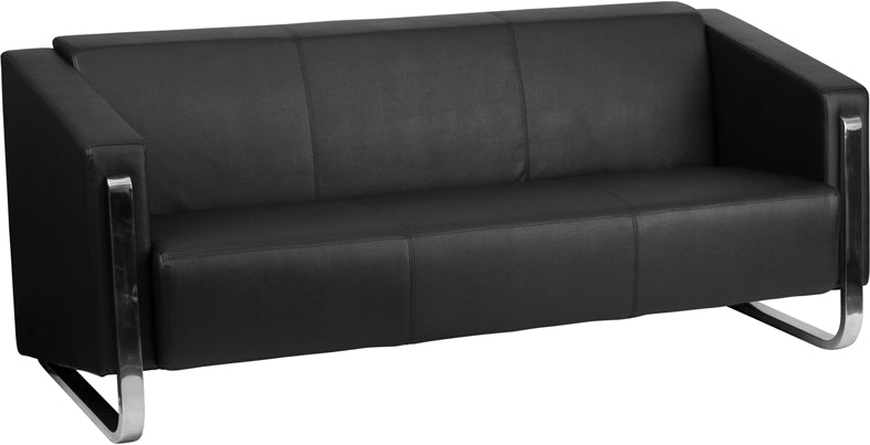 HERCULES Gallant Series Contemporary Black Leather Sofa with Stainless Steel Frame - ZB-8803-3-SOFA-BK-GG