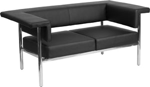 Fusion Series Contemporary Black Leather Loveseat with Stainless Steel Frame