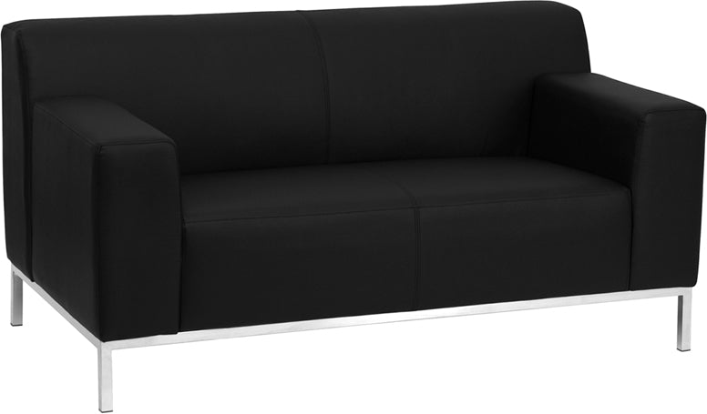 HERCULES Definity Series Contemporary Black Leather Loveseat with Stainless Steel Frame - ZB-DEFINITY-8009-LS-BK-GG